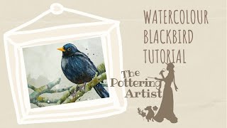 getlinkyoutube.com-How to paint a watercolor blackbird, painting birds in watercolor