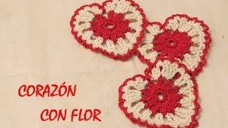getlinkyoutube.com-Cómo hacer un corazón a crochet con flor en el centro (Easy Heart)