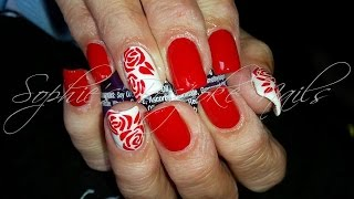 getlinkyoutube.com-Acrylic Nails l Red White Roses l Nail Design