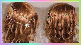 getlinkyoutube.com-Trenza Cascada Arcoiris con gomas o ligas | Peinados para niñas de cabello corto  fáciles y bonitos