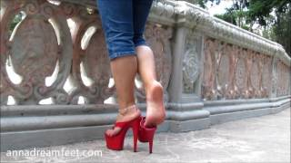 getlinkyoutube.com-Anna's Walking at the park with my big thong red platforms