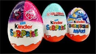 getlinkyoutube.com-Maxi Kinder Surprise Eggs My Little Pony Transformers Smurfette Finger Family Song