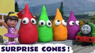 getlinkyoutube.com-Pocoyo & Dora Play Doh Surprise Cones Disney Toys Thomas & Friends Frozen Princess  Play-Doh