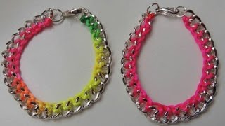 getlinkyoutube.com-DIY Tutorial Pulsera fluor con cadena. Bracelet chain Fluor.