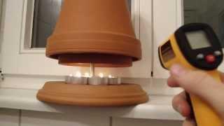 getlinkyoutube.com-Beweis: Wie heiß wird ein Teelichtofen? Digitale Messung - Laser Infrarot Thermometer Candle Heater