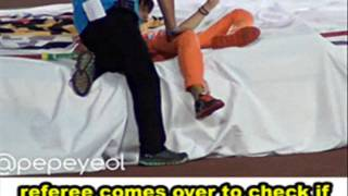 Tao's high-jump accident at ISAC 130903