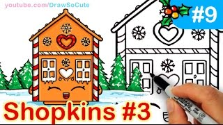 getlinkyoutube.com-How to Draw Shopkins Cute GingerBread House step by step Ginger Fred