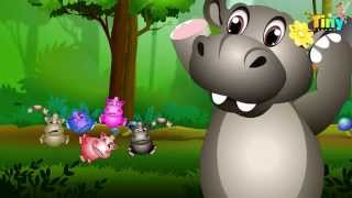 getlinkyoutube.com-Five Little Hippos Jumping On The Bed | Nursery Rhymes for Kids