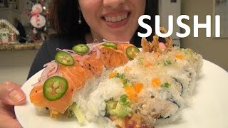 getlinkyoutube.com-ASMR: Eating Sushi | Spicy Salmon Roll | Crunchy Spider Roll | Eating Sounds