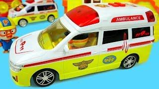 getlinkyoutube.com-Pororo Ambulance car toys & Kinder joy Surprise eggs 뽀로로 구급차 와 킨더조이
