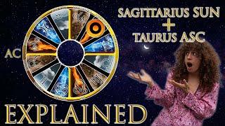 ☉ Sun in Sagittarius + Taurus Asc (rising sign) HD