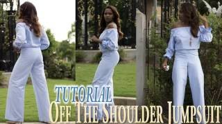 getlinkyoutube.com-Off The Shoulder Jumpsuit Tutorial  - DIY