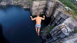 getlinkyoutube.com-Cliff Jumping in Vermont 110 feet