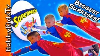 Worlds BIGGEST SUPERMAN Egg! SUPER Kids Surprise Adventure + Kryptonite Spiders HobbyKidsTV