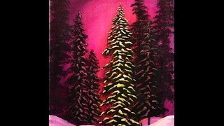 getlinkyoutube.com-Merry and Bright Winter Forest Step by Step Acrylic Painting on Canvas for Beginners