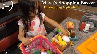 getlinkyoutube.com-Cooking & Kitchen Toys for Girls: Maya's NEW Shopping Basket Playtime :-)