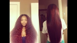 getlinkyoutube.com-Straightening my Mercys Hair Brazilian Curly with Closure