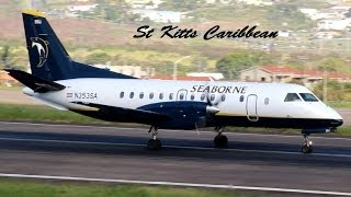 getlinkyoutube.com-Saab 340, ATR-72, Islander departing St Kitts (HD 1080p)