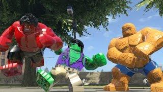 getlinkyoutube.com-Hulk (Tranformation) Vs Thing Vs Red Hulk - Lego Marvel Super Heroes Game