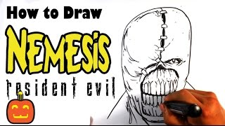 getlinkyoutube.com-How to Draw Resident Evil - Nemesis - Halloween Drawings