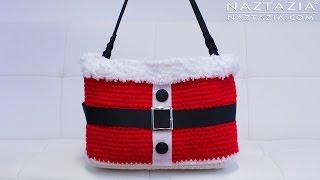 getlinkyoutube.com-DIY Tutorial - Crochet Christmas Santa Handbag - Purse Tote Bolsa