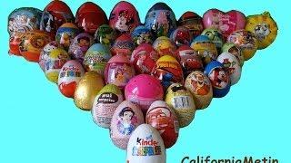 getlinkyoutube.com-40 Surprise Eggs, Unwrapping Kinder Surprise, Spiderman, Cars, Spongebob Disney Pixar