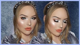 getlinkyoutube.com-EASY & GLOWY Silver Holiday Glam Makeup Tutorial