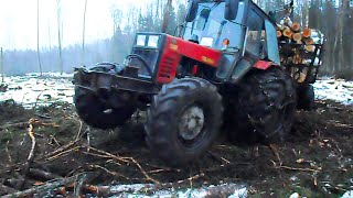 getlinkyoutube.com-Belarus Mtz 1025 in wet forest, difficult conditions