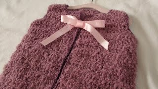 getlinkyoutube.com-VERY EASY cute crochet sweater vest / gilet / jacket tutorial - any size