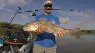 "getlinkyoutube.com-""Loooww Tide"" 4 Redfish 1 Snook Skinny Water Sight Fishing Kayak Fishing"