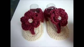 Crochet baby Girl Flower Sandals 3-6 months - Video Tutorial