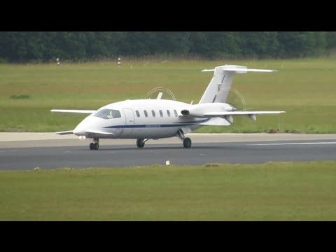 The specific Piaggio P180AM Avanti Italian Air Force takes off from Eindhoven