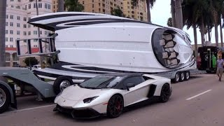 getlinkyoutube.com-200+ Best Supercars arriving for the car show + Lamborghini Speedboats  SUPERCAR WEEK 2015