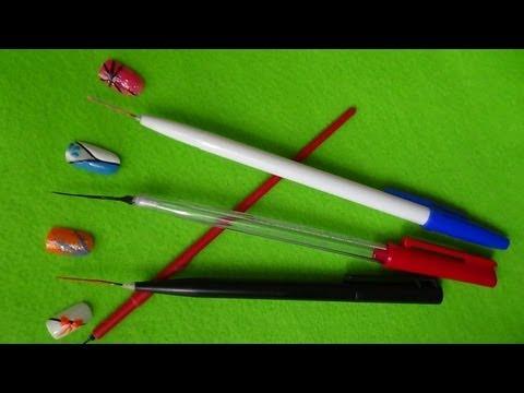 DECORAÇÃO DE UNHAS como fazer um PINCEL CASEIRO longo e fino  com uma CANETA. NAIL ART TUTORIAL