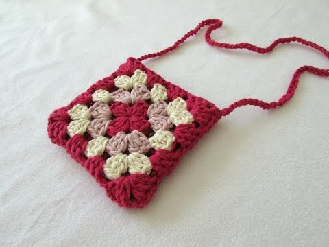 VERY EASY crochet granny square purse / bag tutorial