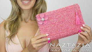 getlinkyoutube.com-DIY Tutorial - How to Crochet Easy Beginner Evening Bag Clutch Purse - Bolsa Borsa Zipper Lining