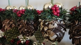 getlinkyoutube.com-How To: Folded Fabric Pinecone Ornaments