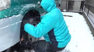 大雪のためタイヤチェーンを装着してみた 2014年2月8日14時
