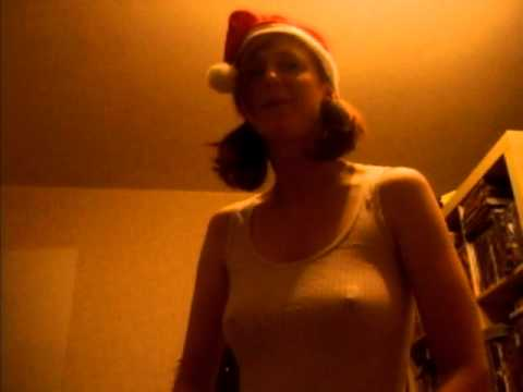 Hot swedish woman singing merry christmas and happy new year