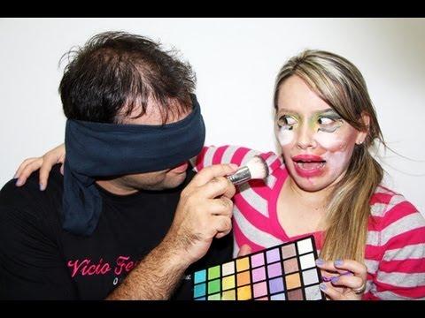 DESAFIO: Maquiagem com olhos vendados!