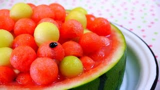 getlinkyoutube.com-Watermelon & melon balls cake スイカとメロンのケーキ