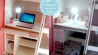 getlinkyoutube.com-DIY - transformando mesa de pc em penteadeira