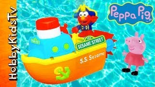 getlinkyoutube.com-Peppa Pig Sails with Elmo S.S. Sesame Boat! Playskool [Toy Review] [Sesame Street] [Hasbro]