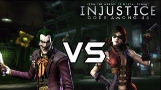 getlinkyoutube.com-Injustice Gods Among Us - The Joker Vs Harley Quinn with Lore & Arkham Skins!