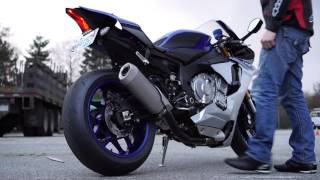 getlinkyoutube.com-2015 Yamaha YZF- R1 M4 Pipe Stock exhaust 4k video