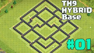 getlinkyoutube.com-Clash of Clans - New Design TH9 Hybrid Base Best With 2 Air Sweeper - Big Update Farming Base!
