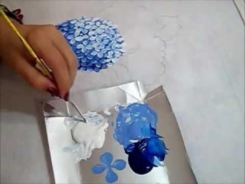 Hortênsia Azul - Pintura em Tecido - How to paint Hydrangeas