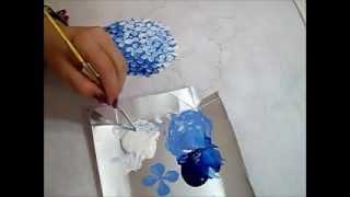 getlinkyoutube.com-Hortênsia Azul - Pintura em Tecido - How to paint Hydrangeas