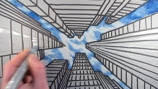 getlinkyoutube.com-How to Draw a City with Dramatic Perspective: Step by Step