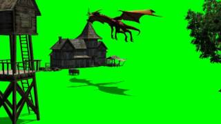 getlinkyoutube.com-dragon flying over medieval house  2 - green screen effects